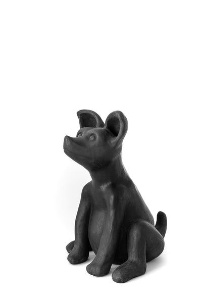 hand burnished clay dog sculpture