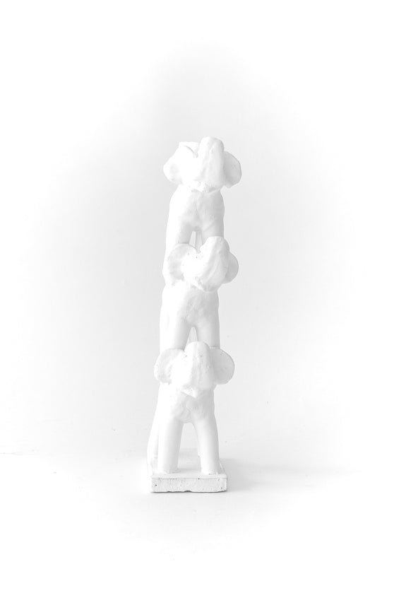 ceramic animal totem candleholder in white