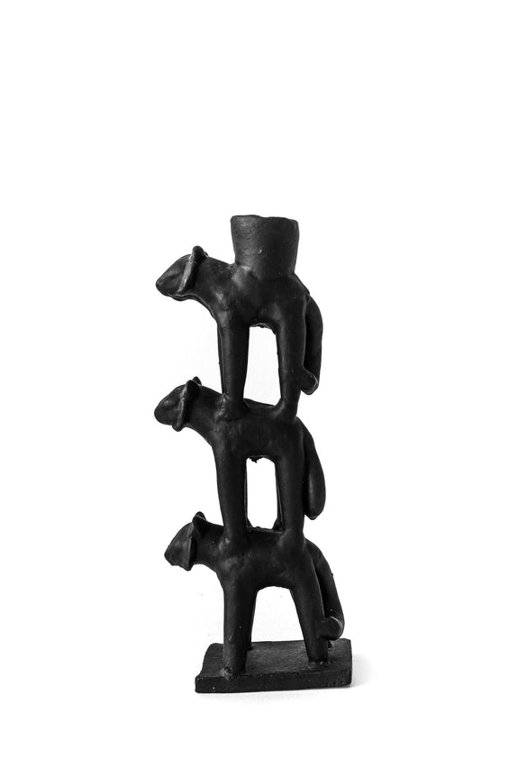 ceramic animal totem candleholder in black