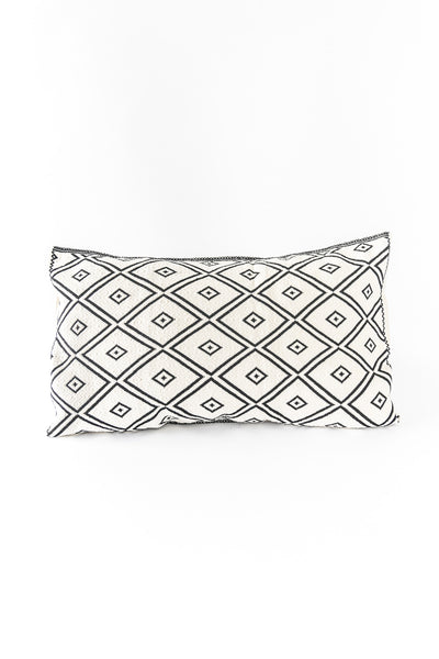 white and black brocade lumbar pillow woven in Chiapas