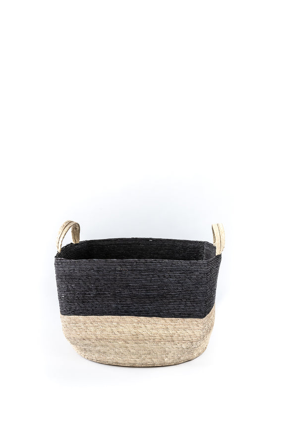 handwoven basket with black trim
