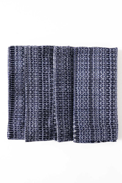 hand-woven blue and white cotton ikat napkins