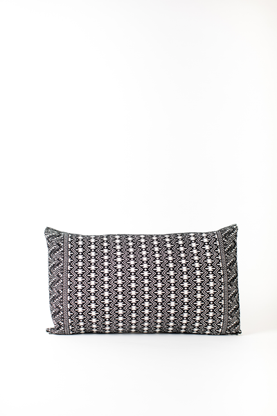 black and white brocade lumbar pillow woven in Chiapas