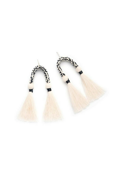 black and white cotton fringe earrings