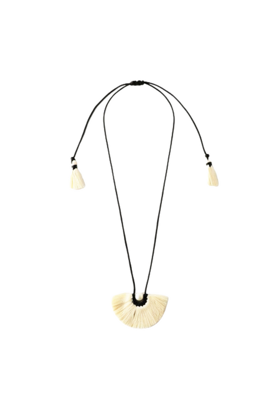 Flor de Texcoco cotton fringe necklace by Caralarga