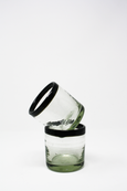 Mexican handblown glass tumbler with black rim