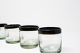 set of 4 Mexican handblown glass tumbler with black rim