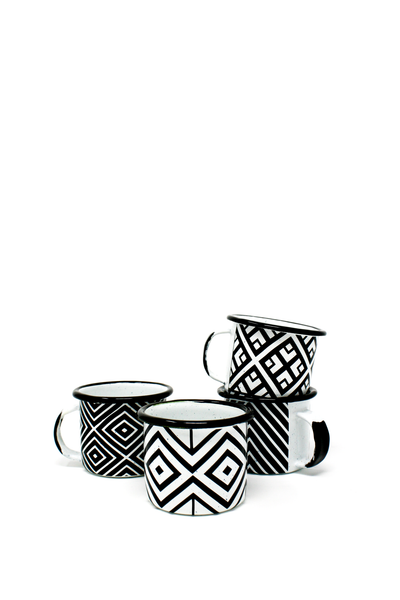black and white enamel espresso cups with graphic pattern