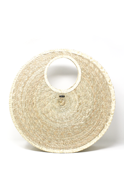 large round woven palm bag made in Mexico