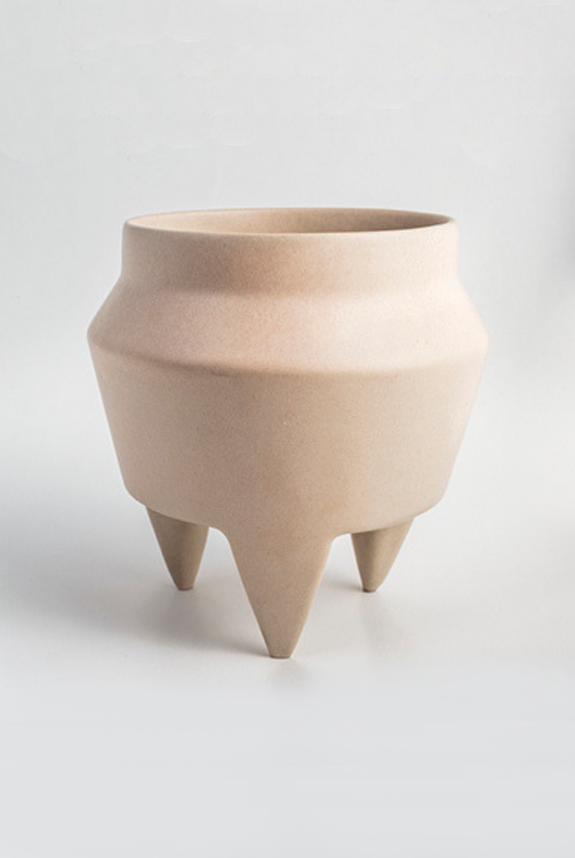 cream ceramic tripod planter