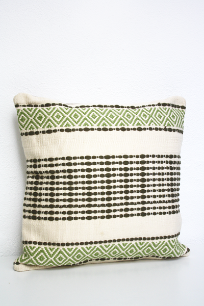 cotton hand loomed pillow made in Mexico
