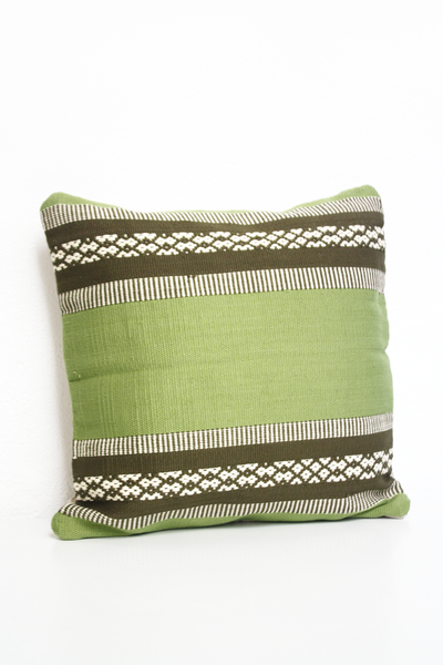 cotton hand loomed lumbar pillow made in Mexico