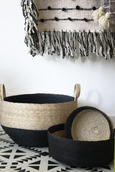 woven palm storage basket made in mexico