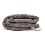 Sustainably made Hamamingo Trocadero blanket scarf in reversible coffee and apricot colours