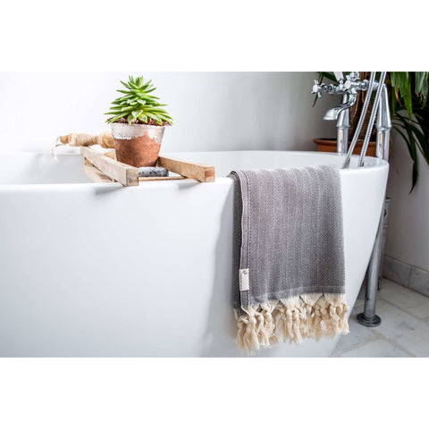 Herringbone Towel Black - HAMAMINGO