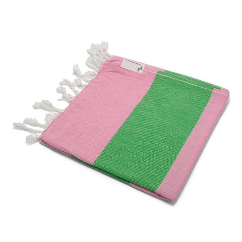 Mini Towel Flamingo Pink & Green - HAMAMINGO