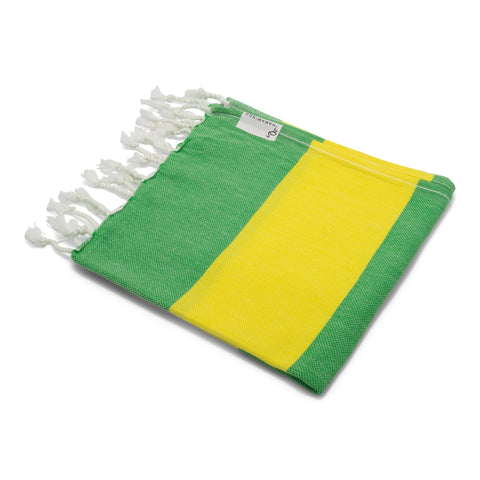Mini Towel Green & Bright Yellow - HAMAMINGO