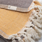 Trocadero Blanket Scarf Coffee and Apricot - HAMAMINGO
