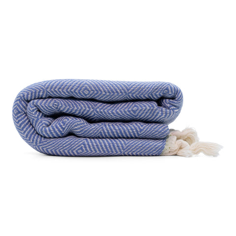 Trocadero Blanket Scarf Denim Blue and Olive Green - HAMAMINGO