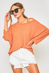 Open Back Slouchy Top in Sienna