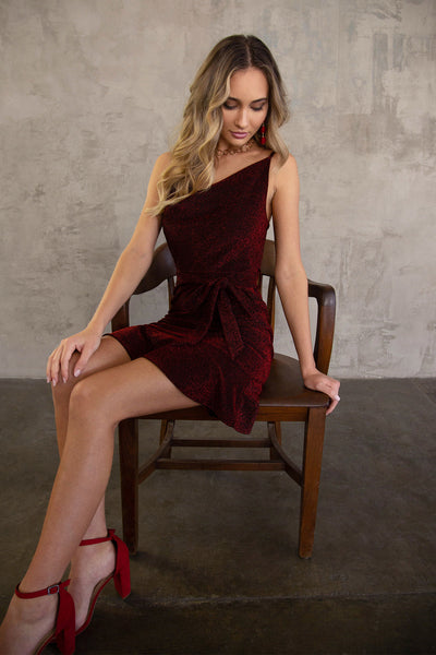 Cowl Neck Lurex Knit Cami Dress in Red