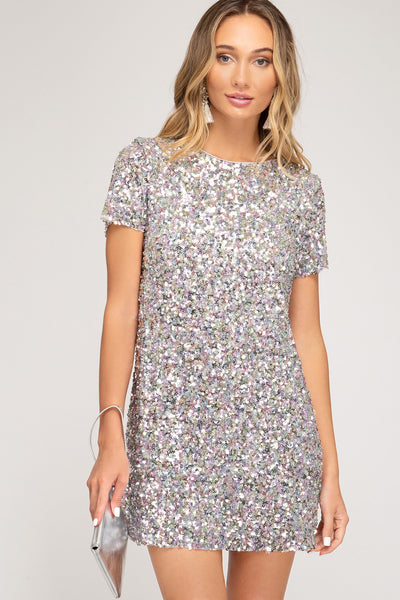 Half Sleeve Sequin Mini Dress in Black or Silver