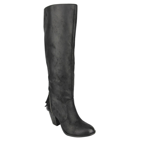 Black Boot with Laced Cuff