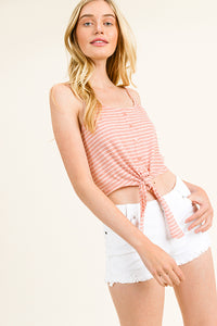 Pink Striped Button Down Tie Crop Top