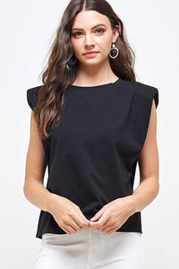 Shoulder Pad Sleeveless Top