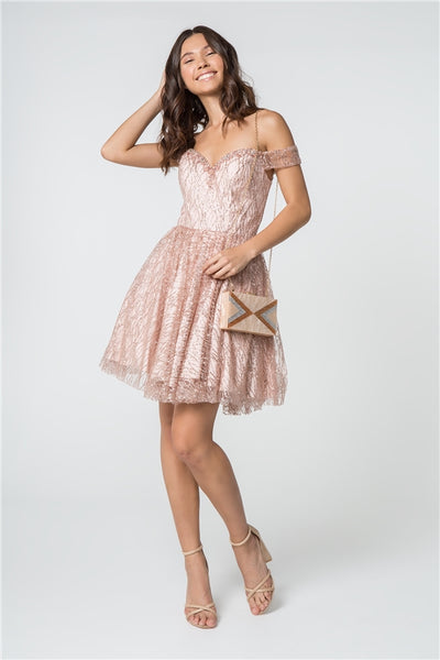 Sweet Heart Neck Rose Gold Sequin Off Shoulder Dress