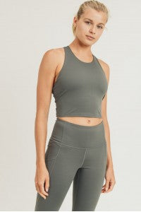 Extreme Racerback Crop Athletic Top in Gunmetal