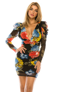 Floral Printed Open Back Puffy Sleeve Dress