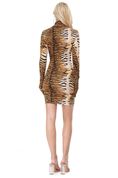 Tiger Print Half Neck Dress with Gloves