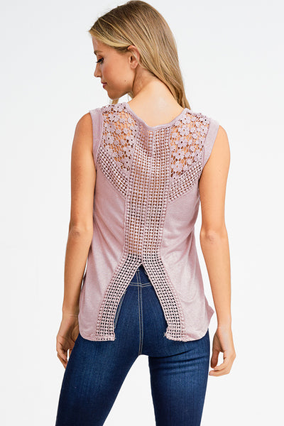Sleevless Mauve Crochet Tank