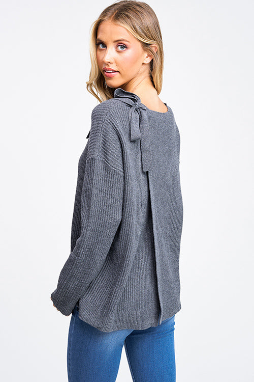Grey Surplice Tie Back Sweater