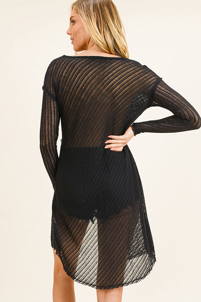 Black Ribbed Knit Sheer Tunic