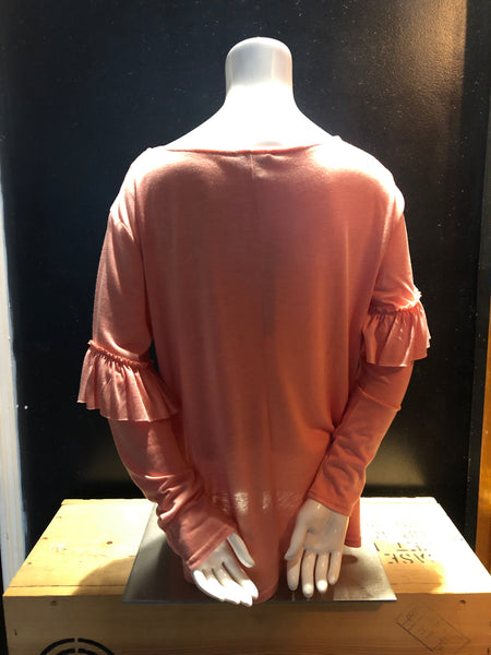 Coral Ruffled Long Sleeve