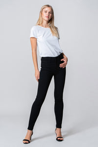 High Rise Ankle Skinny Jeans in Black