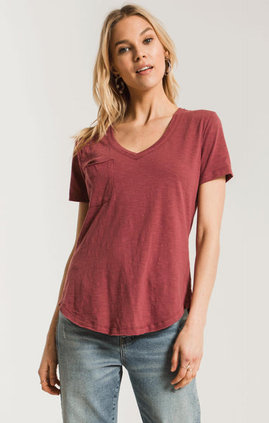 Crushed Berry Airy Slub Pocket T by Z Supply