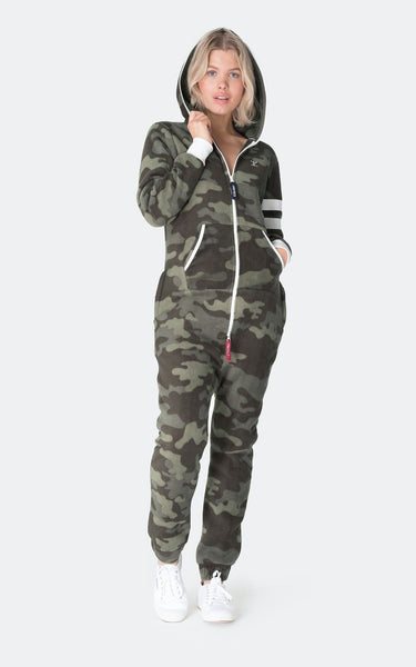 Alps Patch Jump Suit One Piece in Green Camo
