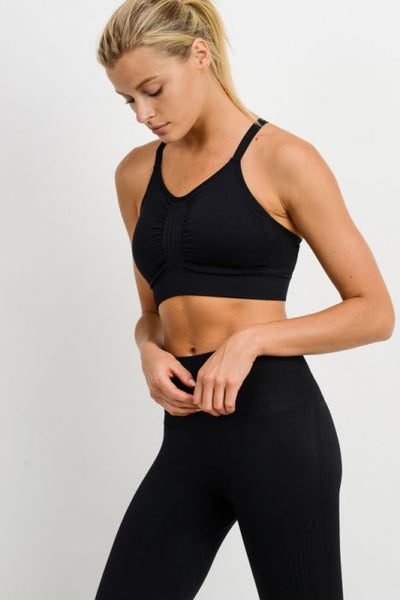 Seamless Textured Track Double Criss Cross Sports Bra