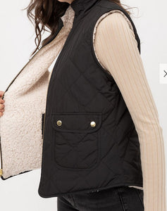 Black/ White Reversible Quilted Sleeveless Padded Vest