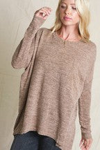 Long Sleeve Slouchy Dolman Pocket T
