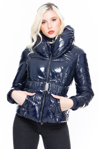 Cushion The Blow - Navy Quilted Shiny Puffer Jacket
