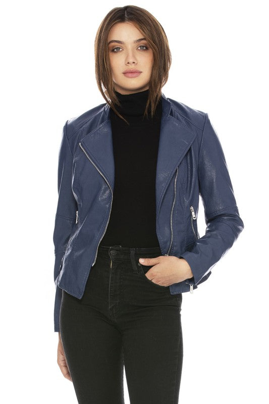 Blue Vegan Leather Moto Jacket