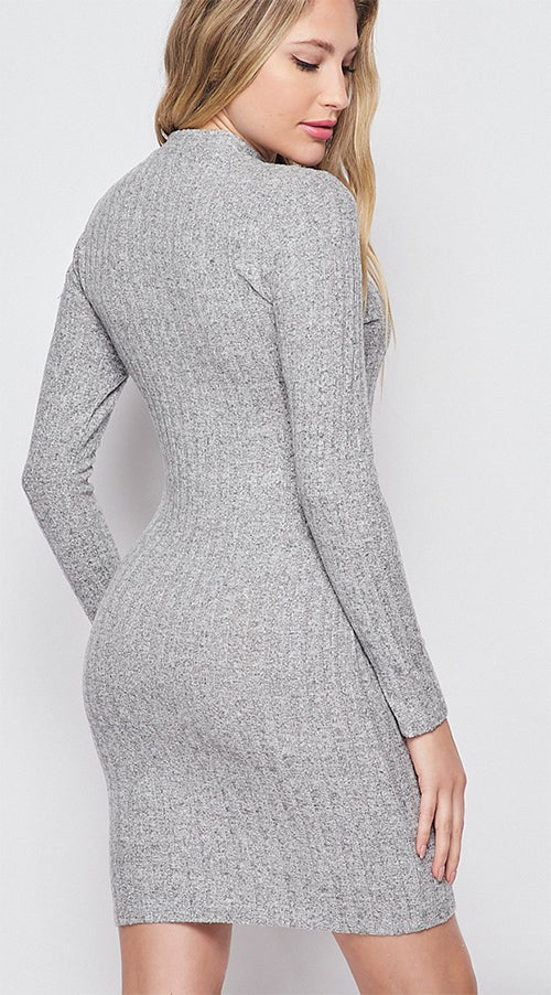 Brushed Mock Neck Sweater Dress