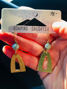 Hammered Brass w/Mint Bead Earring
