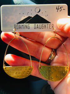 Hammered Brass Wire Earrings