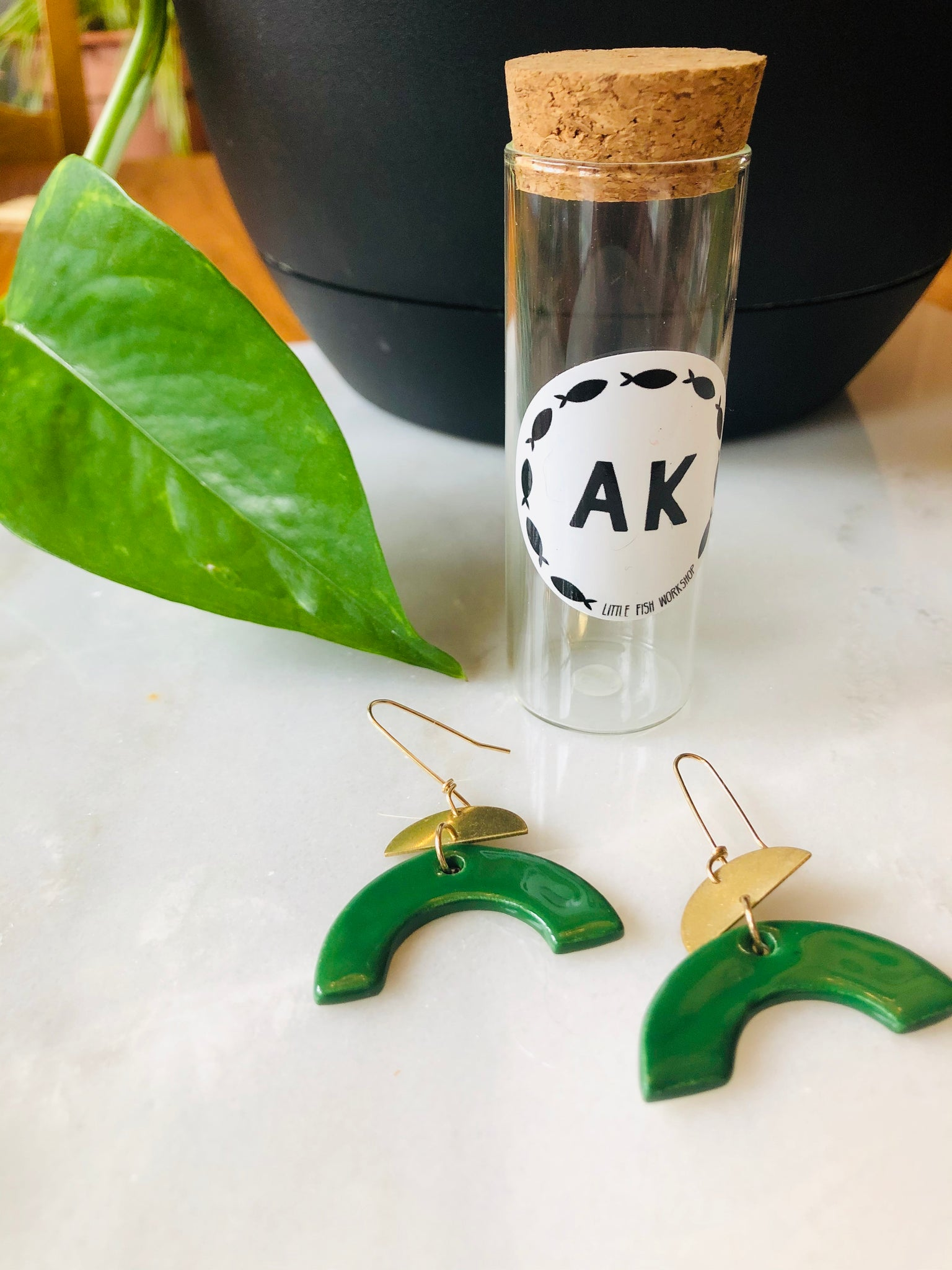 Green Ceramic Half Moon Earrings