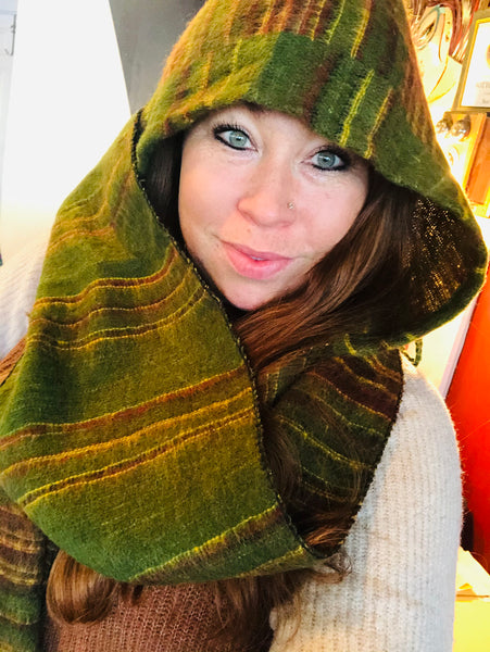Hooded Scarf Green, Yellow Striped
